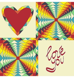 heart and colored geometric shapes vector image