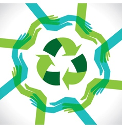 support hand recycle concept vector image