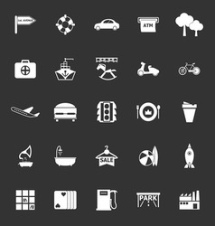 Map place icons on gray background vector
