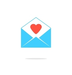 Open blue letter with red heart vector