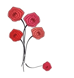 Bouquet of red roses on white background vector