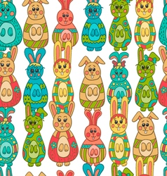 Seamless pattern with easter bunny-9 vector