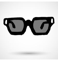 Glasses grunge icon vector