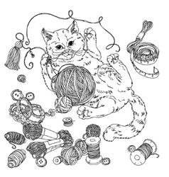 Cat for needlework vector