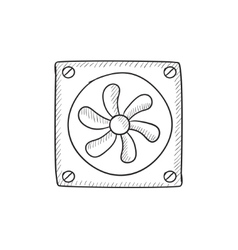 Computer cooler sketch icon vector