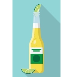 Cerveza bottle beer with lime wedge vector