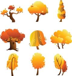 Set of trees - autumn vector