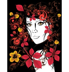 Autumn girl with floral vector