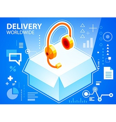 Bright delivery box and head phone on blue b vector