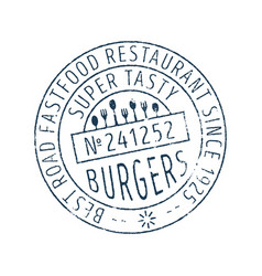 Burgers round stamp icon vector