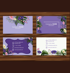 Businesscard template with beautiful flowers in vector