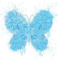 butterfly on grunge splash vector image