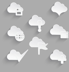 Cloud icon set white plastic save vector