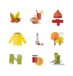 collection of autumn clothes set the fall leaves vector image vector image