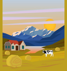 Colorful drawing rural landscape template vector