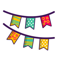 colorful party flags icon cartoon style vector image vector image