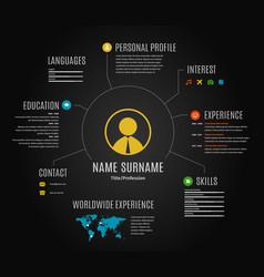Dark resume web infographic template vector