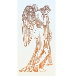Digital sketch drawing of marble statue sad angel vector