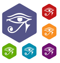 Eye of horus egypt deity icons set hexagon vector