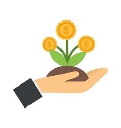 flat icons design money flower dollar sign vector image vector image
