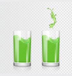 green juice glass fruit apple kiwi drink vector image vector image