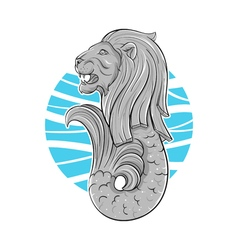 Hand drawn of Singapore symbol lion with fish tail vector image vector image