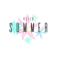 Hello summer stylish poster trendy graphics vector