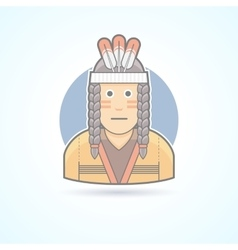 Icon of a Red Indian man an traditional cloth vector image vector image