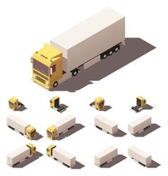 Isometric truck with box semi-trailer icon vector