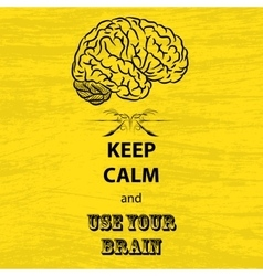 Keep calm and brain vector image vector image