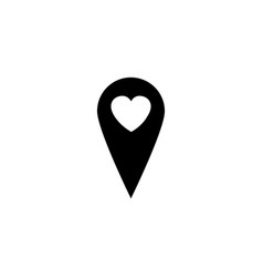 map pointer with heart solid icon vector image vector image