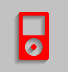 Portable music device red icon with soft vector