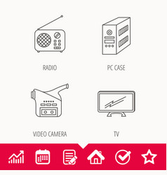 Radio tv and video camera icons vector