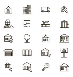 real estate signs black thin line icon set vector image vector image