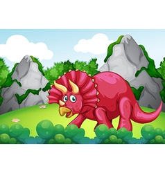 Red dinosaur in the park vector
