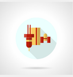 Robotic laser machine flat round icon vector