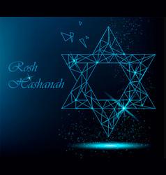 rosh hashanah greeting card with yellow polygonal vector image