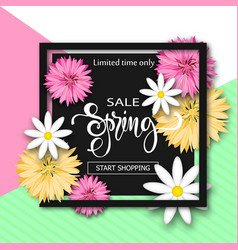 Sale background with flowers season discount vector