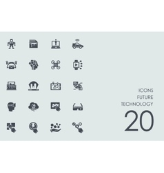Set of future technology icons vector