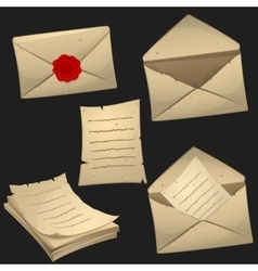 Set of paper sheets and envelopes vector image vector image