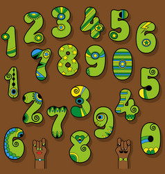 Set of vintage numerals green numbers with bright vector