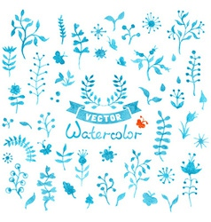 Set of watercolor flowers and leaves vector image vector image