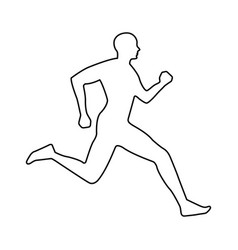 Silhouette athlete running icon vector