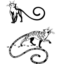 Stylized Cats - elegance and graceful cats vector image