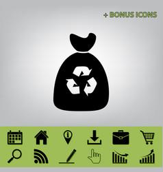 trash bag icon black icon at gray vector image vector image