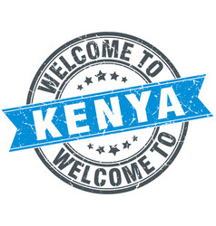 welcome to kenya blue round vintage stamp vector image