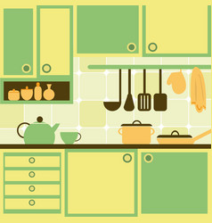 With kitchen vector