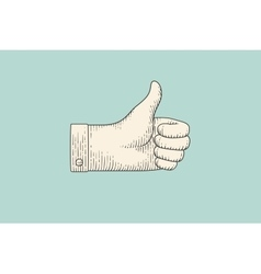 Drawing of hand sign thumbs up in engraving style vector