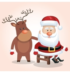 Card cute santa claus sit reindeer isolated vector