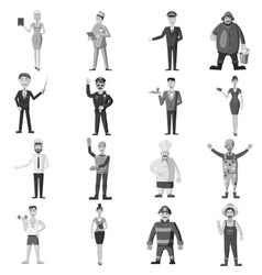 Profession icons set gray monochrome style vector